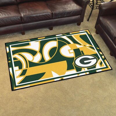 NFL Red Area Rug Team: Green Bay Packers