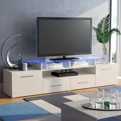 Damian 76 TV Stand Color: White