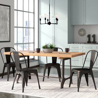 Chiara Industrial Stackable Dining Chair Color: Antique Black