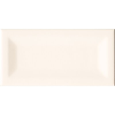 Almond Inverted 3 x 6 Beveled Ceramic Subway Tile in Glossy Beige