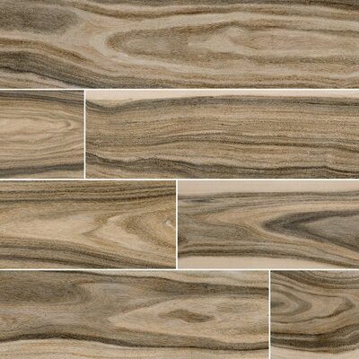 Dellano Deep Bark Polished 8 x 48 Porcelain Wood Look Tile in Brown
