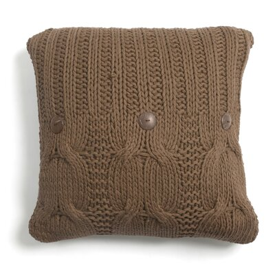 Cable Knit Cotton Throw Pillow Size: 20 x 20, Color: Walnut Brown, Fill: Polyfill