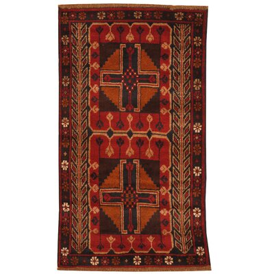 One-of-a-Kind Ebron Hand-Knotted Wool Red/Navy Area Rug