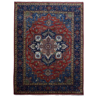 One-of-a-Kind Etchison Oriental Hand Woven Wool Red/Blue Area Rug
