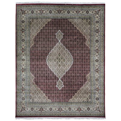 One-of-a-Kind Liddle Flowers Oriental Hand Woven Wool/Silk Olive/Red Area Rug