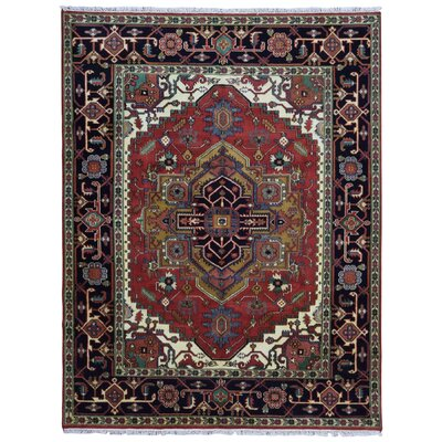 One-of-a-Kind Etchison Oriental Hand Woven Wool Black/Red Area Rug