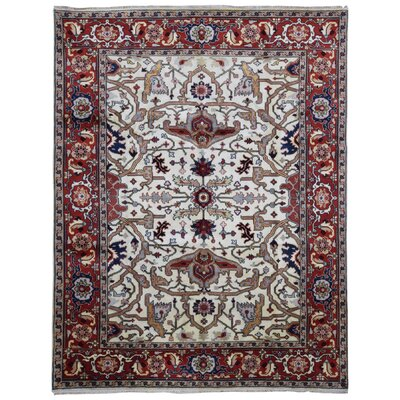 One-of-a-Kind Etchison Oriental Hand Woven Wool Beige/Red Area Rug