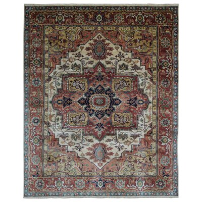 One-of-a-Kind Etchison Oriental Hand Woven Wool Red/Beige Area Rug Rug Size: Rectangle 8 x 10