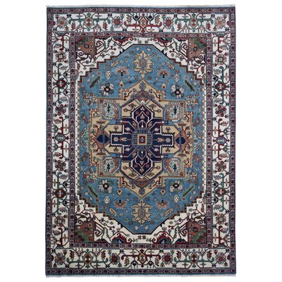 One-of-a-Kind Etchison Oriental Hand Woven Wool Blue/Beige Area Rug