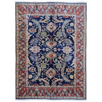 One-of-a-Kind Lundquist Semi-Antique Old Turkish Oriental Hand Woven Wool Navy/Red Area Rug
