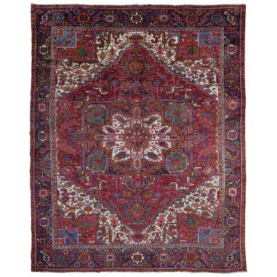 One-of-a-Kind Cheung Very Semi Antique Heriz Oriental Hand Woven Wool Red/Blue Area Rug