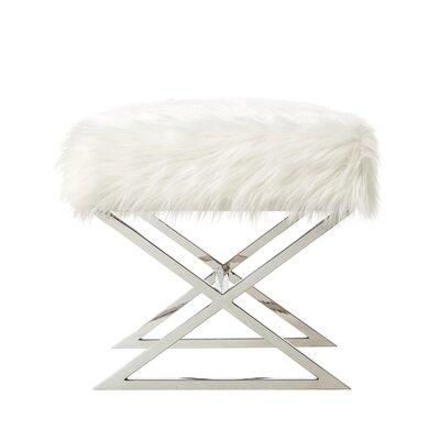 Evonne Ottoman Upholstery: White/Chrome