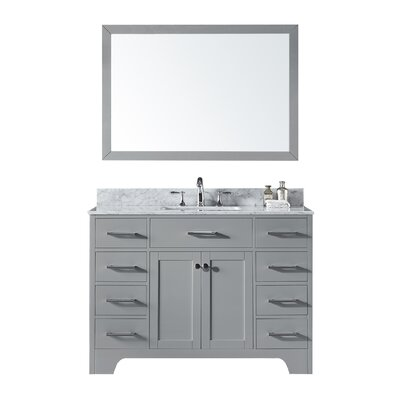 Cassel 48 Single Bathroom Vanity Set with Mirror Base Finish: Taupe Gray