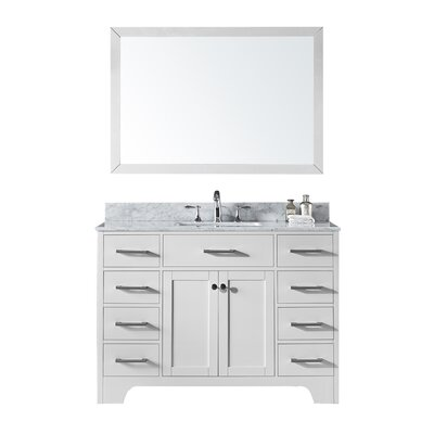 Cassel 48 Single Bathroom Vanity Set with Mirror Base Finish: White