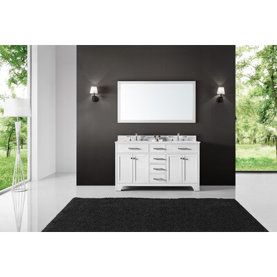 Cassel Double Bathroom Vanity Set with Mirror Base Finish: White, Size: 34.21 H x 60 W x 22 D
