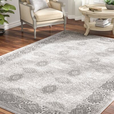 Tilleul Vintage Persian Distressed Gray Area Rug Rug Size: Rectangle 67 x 96