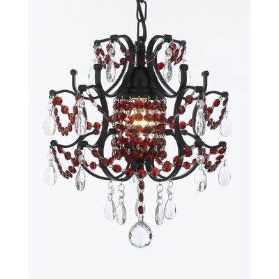 Jimerson Wrought Iron Plug 1-Light Mini Chandelier Finish: Dark Brown