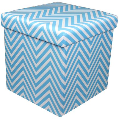 Mccann Foldable/Collapsible Chevron Cube Storage Ottoman with Lid Cover (Set of 12) Upholstery : Sky Blue