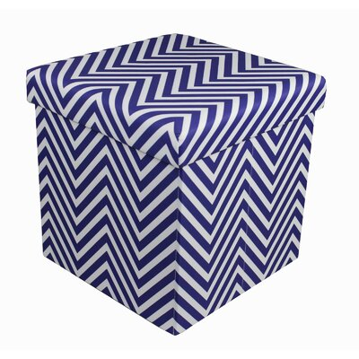 Mccann Foldable/Collapsible Chevron Cube Storage Ottoman with Lid Cover (Set of 12) Upholstery : Navy Blue