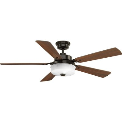 Vanetten 5 Blade LED Ceiling Fan with Remote Finish: Black with Antique Bronze Blades