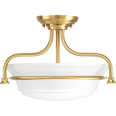 Perot 2-Light Semi Flush Mount Fixture Finish: Brushed Bronze