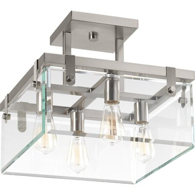 Bridgewood 4-Light Semi Flush Mount Fixture Color: Brushed Nickel