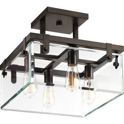 Bridgewood 4-Light Semi Flush Mount Fixture Color: Antique Bronze