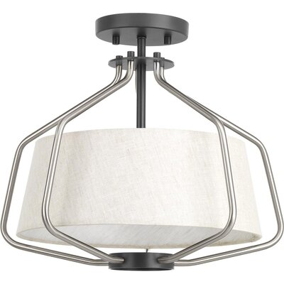 Geib 2-Light Semi Flush Mount Fixture Finish: Brushed Nickel