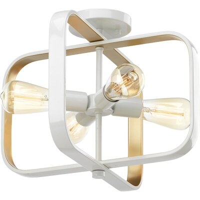 Geer 4-Light Semi Flush Mount Fixture Finish: White