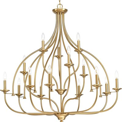 Harrod 15-Light Candle-Style Chandelier Finish: Brushed Bronze
