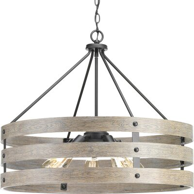 Emaria 5-Light Drum Pendant Finish: Graphite, Shade Color: Weathered Gray