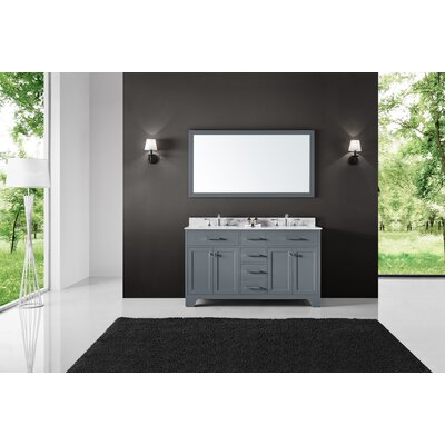 Cassel Double Bathroom Vanity Set with Mirror Base Finish: Cashmere Gray, Size: 34.21 H x 60 W x 22 D