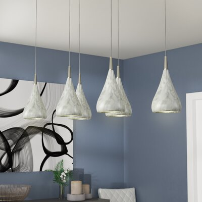Alan Rectangle 6-Light Cascade Pendant Shade Color: Marble Print