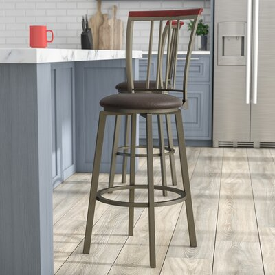 Bolivar 29 Swivel Bar Stool Upholstery: Espresso