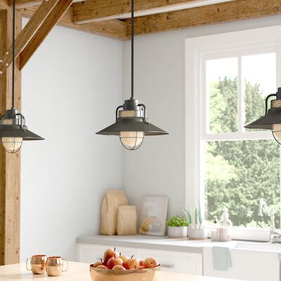 Fitzhugh 1-Light Glass Mini Pendant Size: 9.5 H x 14 W, Finish: Satin Black