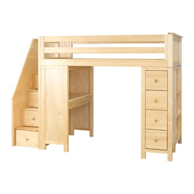 Deshotel Staircase Combo Twin Loft Bed Bed Frame Color: Natural