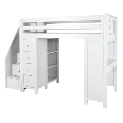 Deshotel Staircase Combo Twin Loft Bed Bed Frame Color: White