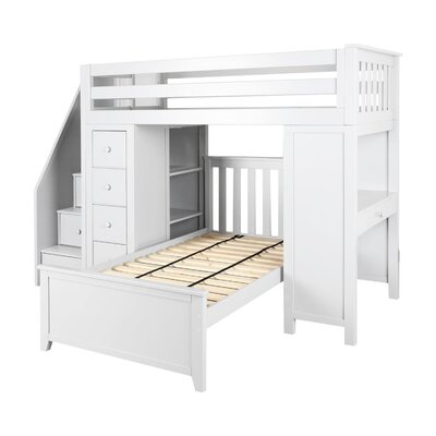 Desilets Staircase Combo Twin over Twin Loft Bed Bed Frame Color: White
