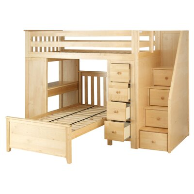 Desilets Staircase Combo Twin over Twin Loft Bed Bed Frame Color: Natural
