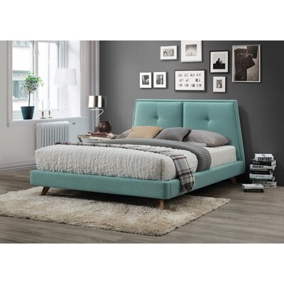 Gaillard Queen Upholstered Platform Bed Color: Turquoise