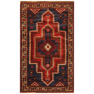 One-of-a-Kind Ebron Hand-Knotted Wool Navy/Red Area Rug