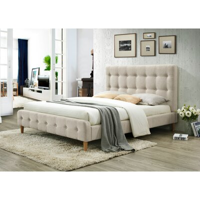 Gainey Queen Upholstered Platform Bed Color: Beige