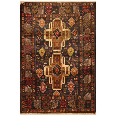 One-of-a-Kind Ellerman Balouchi Hand-Knotted Wool Brown/Navy Area Rug
