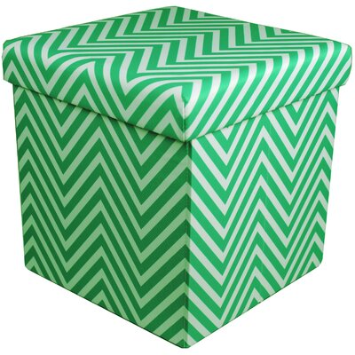 Mccann Foldable/Collapsible Chevron Cube Storage Ottoman with Lid Cover (Set of 12) Upholstery : Green