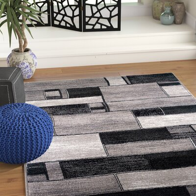 Archer Oblong Blocks Charcoal/Gray Area Rug Rug Size: 53 x 75