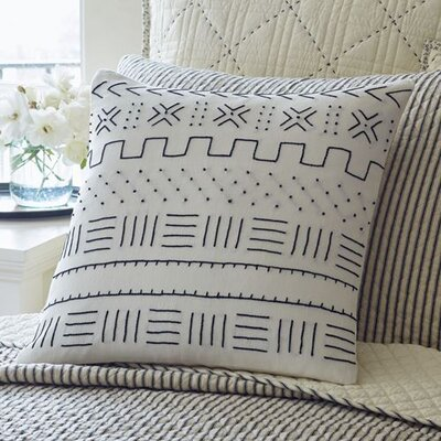 Mudcloth Embroidered Porch Linen Throw Pillow