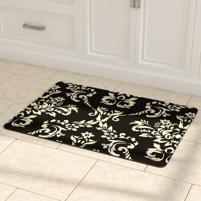 Justina Damask Kitchen Mat Mat Size: 22 x 31, Color: Onyx