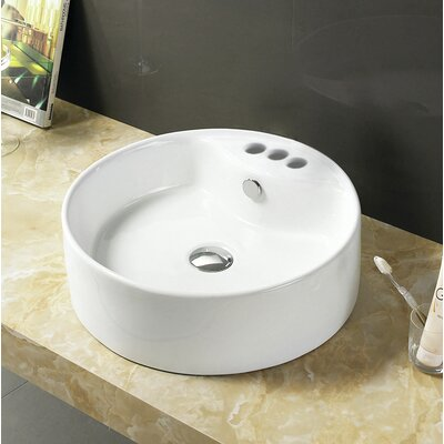 Ceramic Circular Vessel Bathroom Sink with Overflow Faucet Mount: 4 Centers