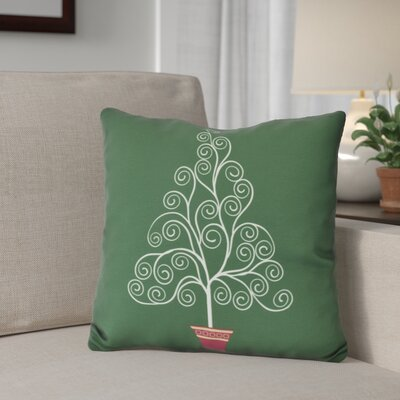 Filigree Tree Outdoor Throw Pillow Size: 16 H x 16 W, Color: Green