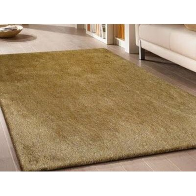 Heineman Solid Shag Hand-Tufted Gold Area Rug Rug Size: Rectangle 5 x 7